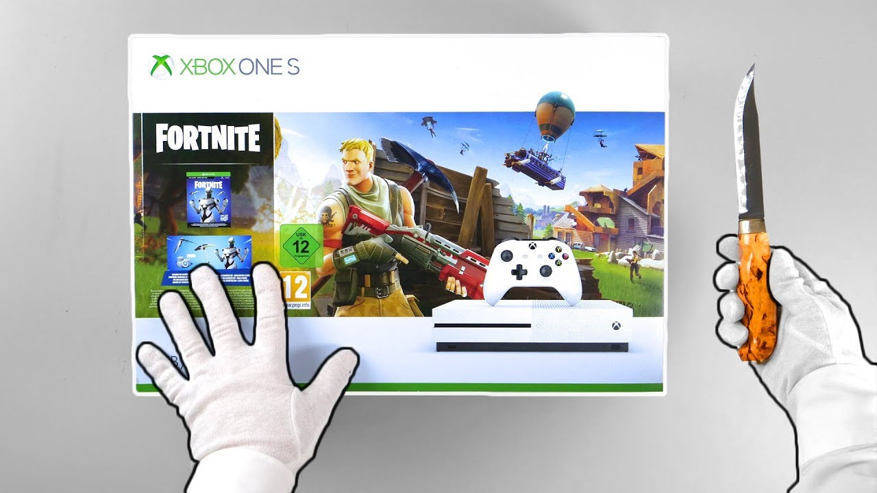"""xbox one """"fortnite"""" console unboxing eon skin bundle"""
